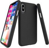 iPhone X / Xs Hoesje Triangle Texture Back Cover Zwart Premium Case