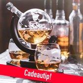 Whiskey Decanter Wereldbol Incl. 2 Whiskey Glazen - Globe Decanter - Whiskey Karaf