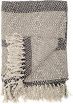 Bloomingville - Throw - 83% Cotton, 10% Polyester, 7% Viscose - L160xB130 cm  - Beige/Grijs