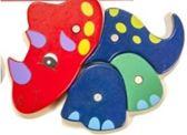 Houten Dieren puzzel neushoorn 20 cm rood-blauw-groen