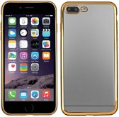 Apple iPhone 7 smartphone hoesje silicone tpu case transparant/gouden rand