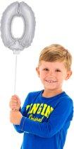 Mini Figuurballon Zilver Cijfer 0