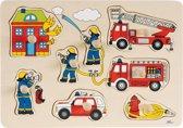 Goki | Houten knopjespuzzel Brandweer