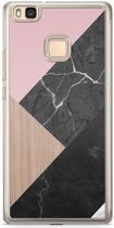Huawei P9 Lite siliconen hoesje - Marble wooden mix