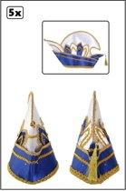 5x Prinsenmuts blauw wit luxe met steentjes mt 63