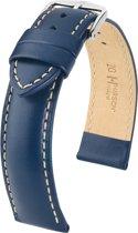 Hirsch horlogeband - TROOPER blauw leer 18mm