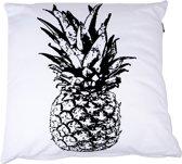 In The Mood Ananas - Sierkussen - 50x50 cm - Ivoor Wit/Zwart