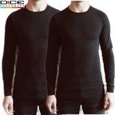DICE 2-pack Longsleeve shirt ronde hals zwart maat XL