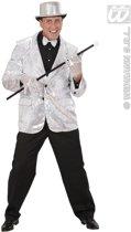 Glitter & Glamour Kostuum | Pailletten Jas Zilver Man | Small | Carnaval kostuum | Verkleedkleding