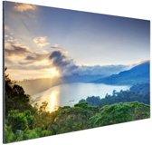 Uitzicht over bergen en meren Azie Aluminium 180x120 cm - Foto print op Aluminium (metaal wanddecoratie) XXL / Groot formaat!