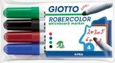 10x Giotto Robercolor whiteboardmarker maxi, ronde punt, etui met 4 stuks in geassorteerde kleuren
