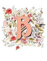 B Monogram Letter Floral Wreath Notebook