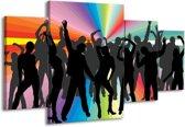 Canvas schilderij Dansen | Zwart, Rood, Groen | 160x90cm 4Luik