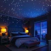 Glow in the dark sterren blauw - 100 stuks - Kinderkamer decoratie stickers - Lichtgevende sterren hemel - nooit meer bang in het donker - glow in de dark