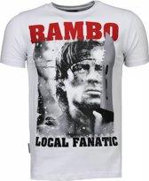 Local Fanatic Rambo - Rhinestone T-shirt - Wit - Maten: XXL