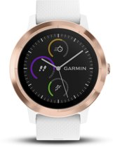 Garmin Vivoactive 3 - Smartwatch - Roestvrij staal Rosegold - Wit siliconen band