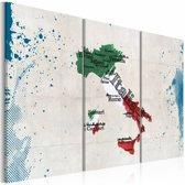 Schilderij - Kaart van Italië, Multi-gekleurd, 3luik