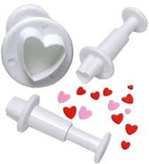 Heart Shaped Plunger Cutter Small, set van 3