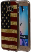 Amerikaanse Vlag TPU Cover Case voor Samsung Galaxy S6 Hoesje
