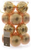 Glas Kerstballen (8cm) Box 16 Stuks Licht Goud