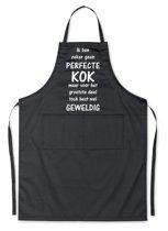 Mijncadeautje Schort - Geen perfecte kok maar wel geweldig - opdruk wit - mooie en exclusieve keukenschort - zwart