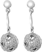 Orphelia ZO-7355 - Oorhanger Ball Hearts - Zilver 925 - Zirkonia - 2.5 cm