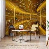 Fotobehang Modern 3D Tech Tunnel Yellow   VEXXL - 312cm x 219cm   130gr/m2 Vlies