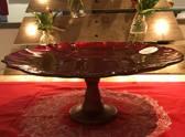 Cote Table glazen schaal op voet D33cm rood