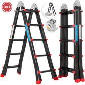 multifunctionele vouwladder 4x5 treden 5.10m Zwart- Trendtools