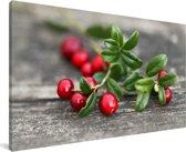 Cranberry's op een tak Canvas 30x20 cm - klein - Foto print op Canvas schilderij (Wanddecoratie woonkamer / slaapkamer)