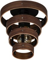 Plafondlamp Walnut 4 rings hout