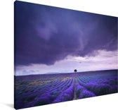 Wolken boven lavendelvelden Canvas 60x40 cm - Foto print op Canvas schilderij (Wanddecoratie woonkamer / slaapkamer)