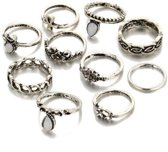 Joboly Ibiza boho bohemien stijl ringen set 10 stuks - Dames - Zilverkleurig