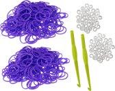 600 Loom Bands met 2 weefhaken en S-clips paars