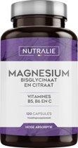 NUTRALIE Magnesium met Vitamine B5 B6 en Vitamine C | Magnesium Bisglycinaat en Citraat | 100 % Biobeschikbaar en Veganistisch | 120 capsules