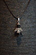 Hanger Obsidiaan Engel aan Koord - Zwart/Zilver - 4x2cm