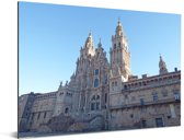 Witte kerk van de aartsbisdom Santiago de Compostella Aluminium 80x60 cm - Foto print op Aluminium (metaal wanddecoratie)