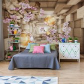 Fotobehang 3D Wood And Flowers Tunnel | VEXXXXL - 416cm x 290cm | 130gr/m2 Vlies