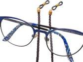 Brillenkoord - gevlochten nappaleer  - donkerbruin - 3 mm - mooie goudkleurige kapjes