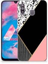 TPU Siliconen Hoesje Samsung Galaxy M30 Zwart Roze Vormen