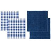 DDDDD Combiset 2 theedoeken & 2 keukendoeken block blue