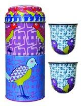 Images d'Orient - blikken doos met 2 kopjes - Birds of Paradise