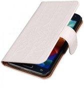 Samsung Galaxy S5 Mini Hoesje Krokodil Bookstyle Wit