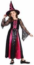 Roze heks jurkje voor meisjes - heksenjurkje / kostuum 120-130 (7-9 jaar)