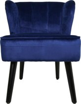 HSM Collection - Cocktail chair - velvet donkerblauw