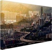 FotoCadeau.nl - Uitzicht over Hong Kong Canvas 80x60 cm - Foto print op Canvas schilderij (Wanddecoratie)