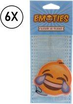 Luchtverfrisser Blueberry - Auto - Lachende Emoji - Bosbes Geur - Set van 6 stuks