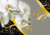 Fotobehang Pattern Flowers Orchids Abstract | XXL - 312cm x 219cm | 130g/m2 Vlies