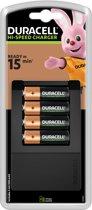 Duracell CEF 15 - Batterijlader met 15 min Oplaadtijd + 4 AA batterijen 1300mAh