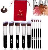 FULLINO Kabuki Zwart Zilver 10 Delig Make-up Kwasten Set Met Mooie Rode/Zwarte FULLINO Tasje Cadeau Voor Vrouwen